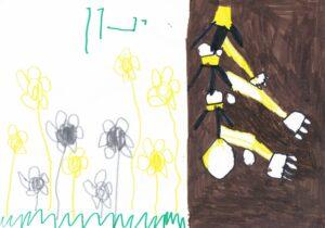 """הילדים בגן דקל במעלה מכמש ציירו בעקבות הספר """"שלג של סביונים"""" בצירוף תודה על כל הספרים שהגיעו אליהם במשך השנה"""