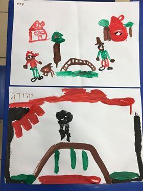 ילדי גן השחר ברחובות מציירים גשרים, בעקבות הספר אגדת גשר