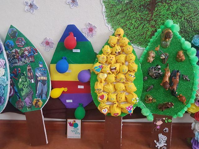 בגן יפית בבאר שבע כל משפחה הכינה עץ דמיוני בעקבות הסיפור